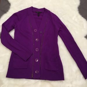 BCBGMaxAzria purple sweater/ button up cardigan